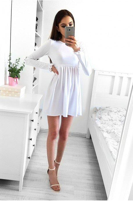 Dziewczęca rozkloszowana sukienka z długim rękawem biała LC08