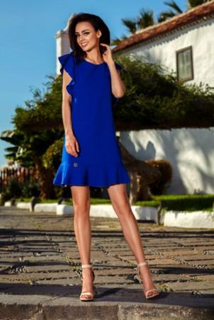Wizytowa sukienka z falbankami - chabrowa