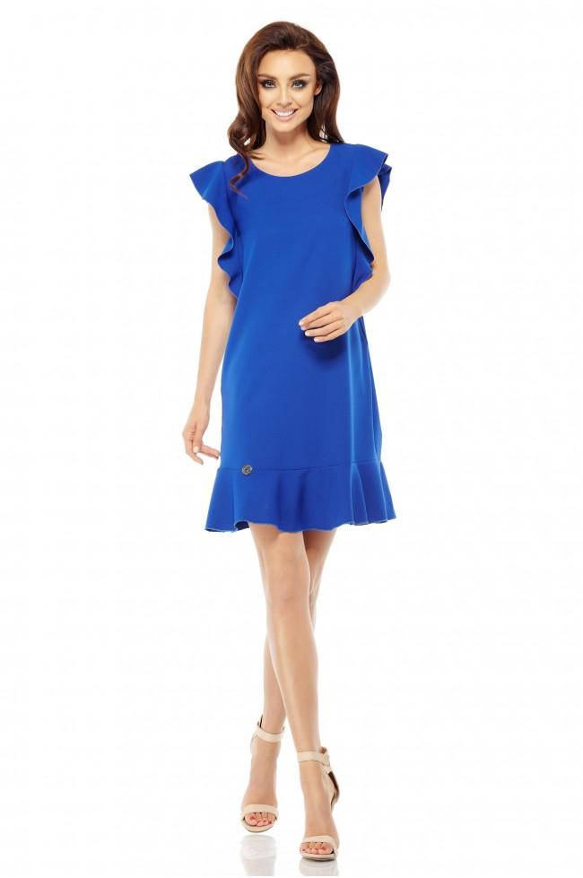 f3e79f1be6797b Wizytowa sukienka z falbankami - chabrowa - Pretty Clever Sklep ...