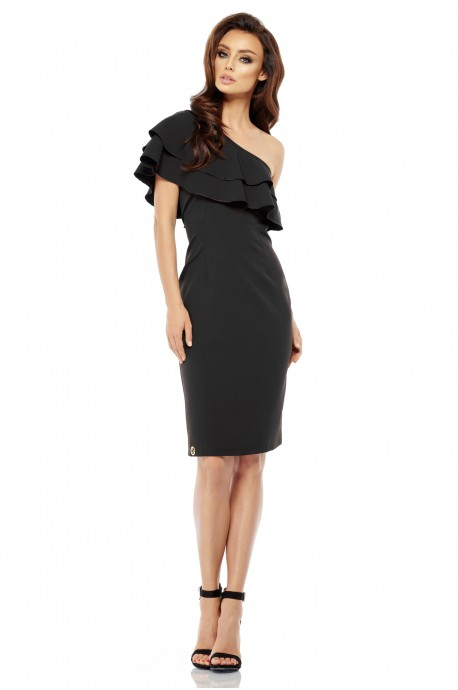 Olśniewająca sukienka na jedno ramię - czarna