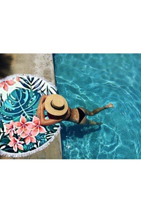 Ręcznik plażowy okrągły boho kwiaty