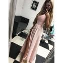 Sukienka wieczorowa Glamour długa - pudrowy róż