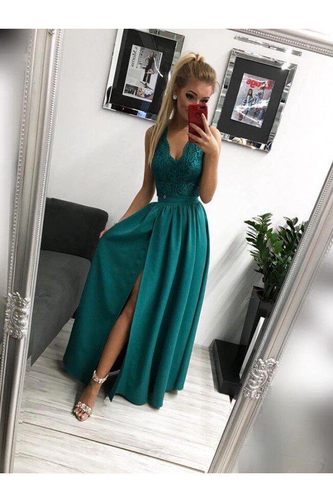 Sukienka Wieczorowa Glamour Długa Zielona Pretty Clever Sklep