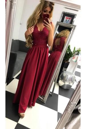 Sukienka wieczorowa Glamour długa - bordowa