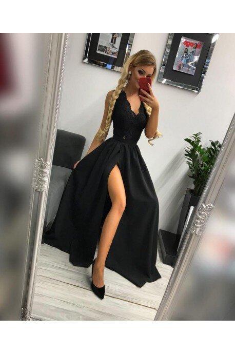 Sukienka wieczorowa Glamour długa - czarna
