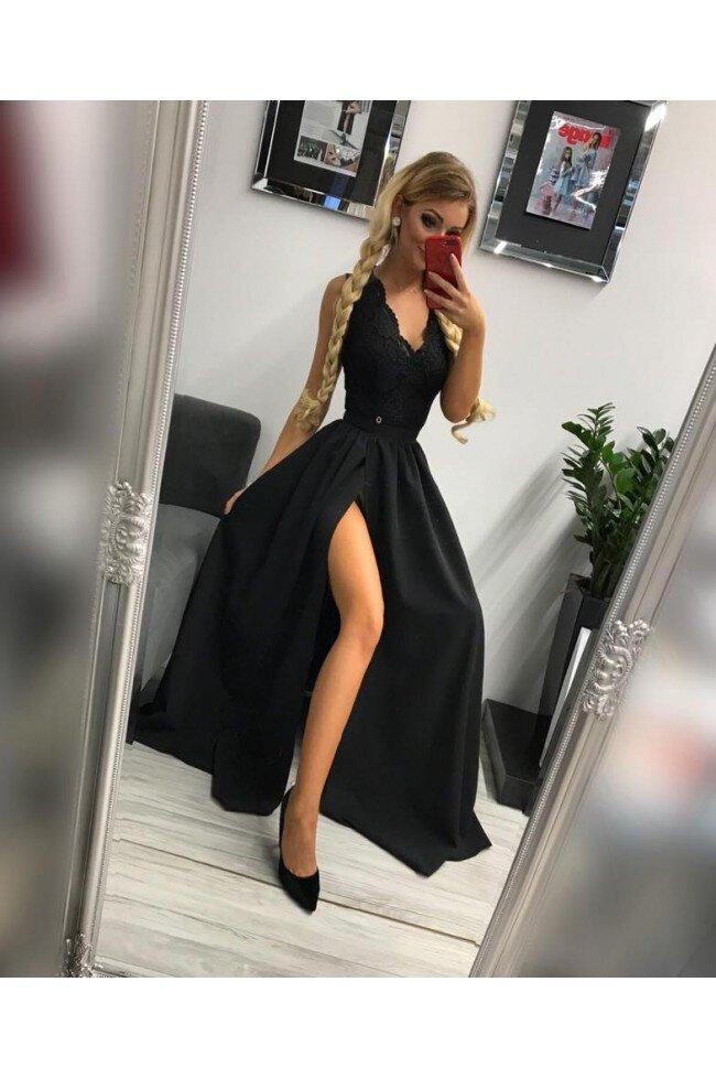 Sukienka Wieczorowa Glamour Długa Czarna Pretty Clever Sklep