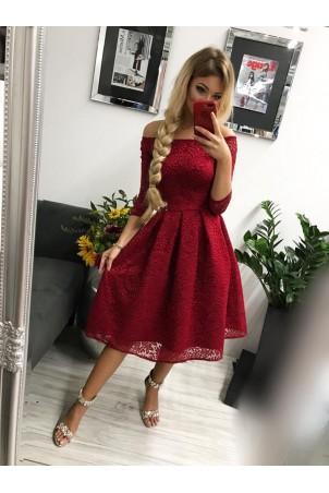 Sukienka wieczorowa Scarlett Midi - bordowa