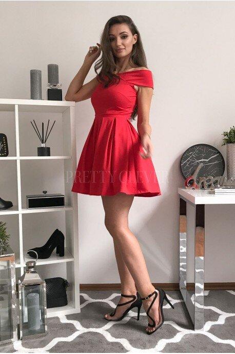 Rozkloszowana sukienka koktajlowa z dekoltem carmen Alice - czerwony