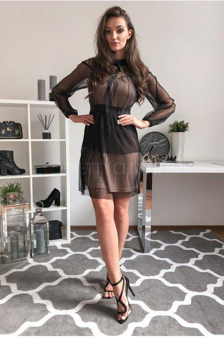 Elegancka sukienka z siateczką Coquette - czarna
