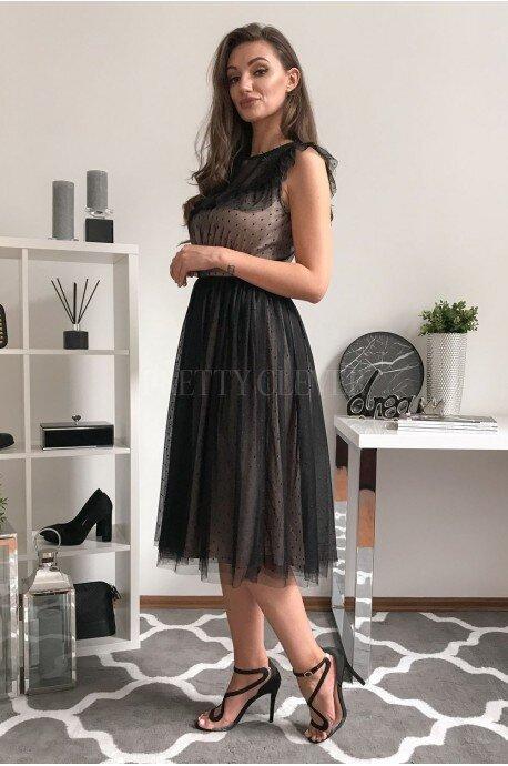 Rozkloszowana sukienka z tiulem i koronką Moon - czarna