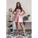Sukienka koktajlowa z dekoltem w serce Fancy - różowa