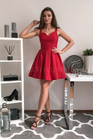 Sukienka koktajlowa z dekoltem w serce Fancy - czerwona