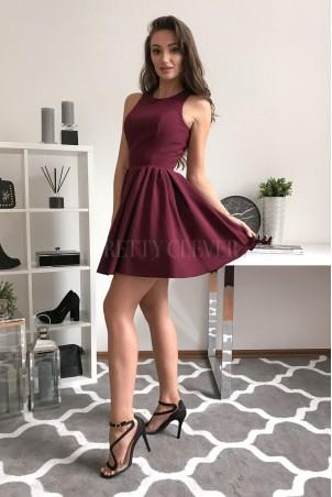 Rozkloszowana sukienka koktajlowa Classy - bordowa