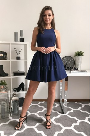 Rozkloszowana sukienka koktajlowa Classy - granatowa