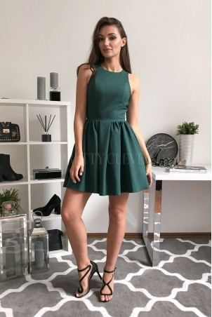 Rozkloszowana sukienka koktajlowa Classy - zielona