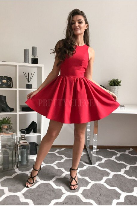 Rozkloszowana sukienka koktajlowa Classy - czerwona