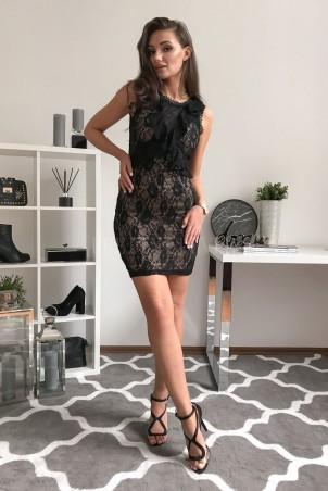 Ołówkowa koronkowa sukienka z dekoltem V Sky - czarna