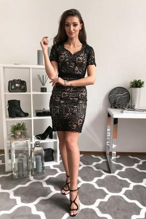 Ołówkowa sukienka koronkowa Pina Colada - czarna