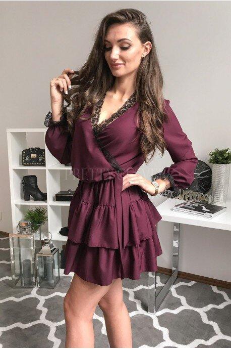 Elegancka sukienka z falbankami i koronką Megan - bordowa