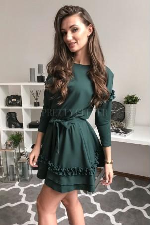 Elegancka sukienka z falbankami Liz - zielona