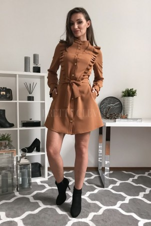 Elegancka sukienka z guzikami Kate - kamelowa