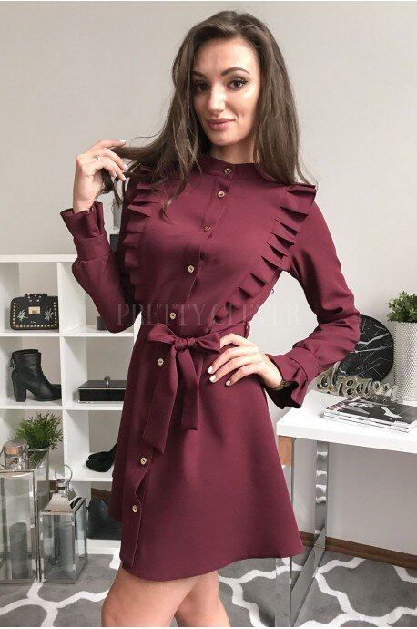 Elegancka sukienka z guzikami Kate - bordowa