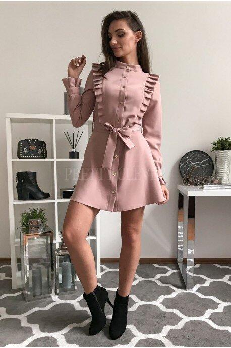 Elegancka sukienka z guzikami Kate - pudrowy róż