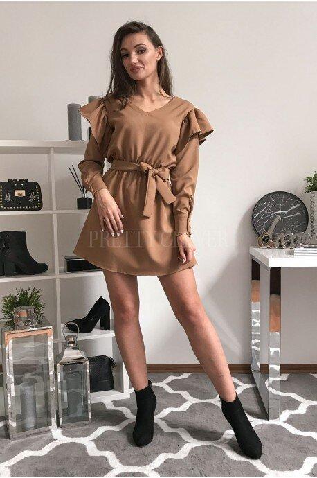Sukienka z falbankami i paskiem Veri - kamelowa