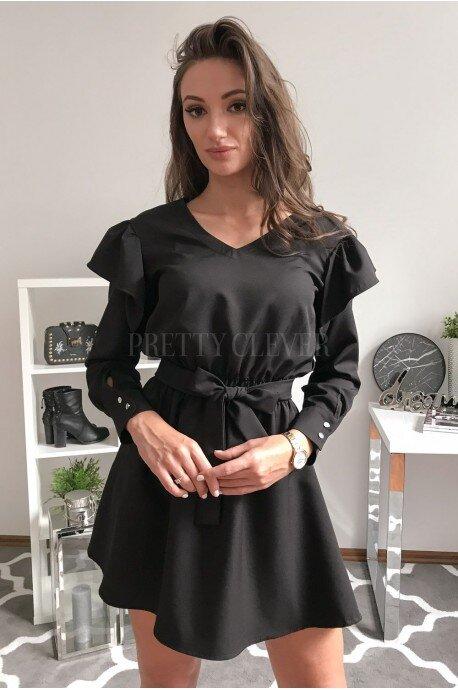 Sukienka z falbankami i paskiem Veri - czarna
