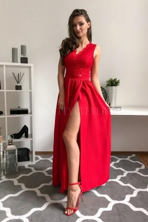 Sukienka wieczorowa Glamour długa - czerwona
