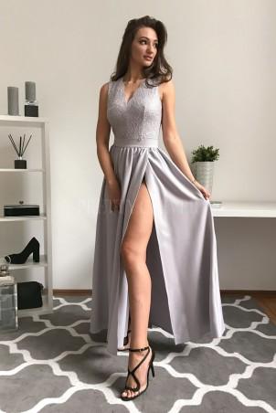 Sukienka wieczorowa Glamour długa - jasnoszara