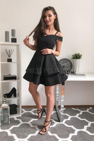 Angel - rozkloszowana sukienka bez ramion - czarna