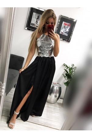 Sukienka wieczorowa Vivien cekinowa - srebrna