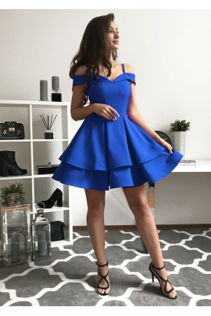 Angel - rozkloszowana sukienka bez ramion - chabrowa
