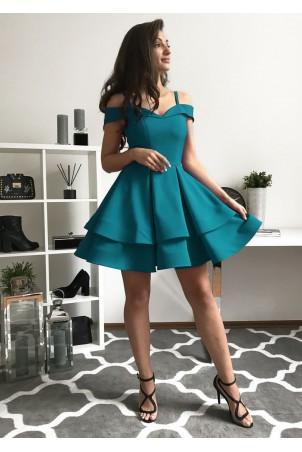 Angel - rozkloszowana sukienka bez ramion - butelkowa zieleń