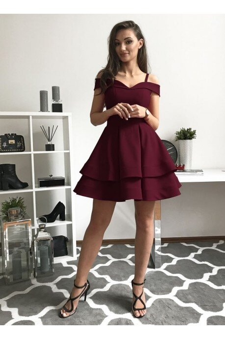 Angel - rozkloszowana sukienka bez ramion - bordowa