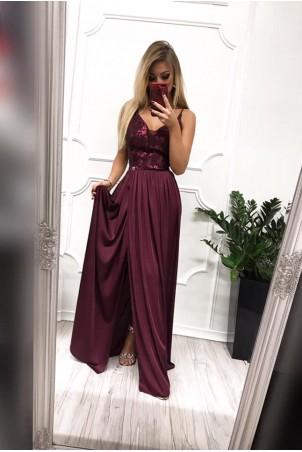 Długa wieczorowa suknia Rubi - bordowa