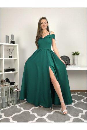 Sensai - długa suknia z rozcięciem - butelkowa zieleń
