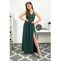 Długa wieczorowa suknia z cekinowym gorsetem Glam - zielona