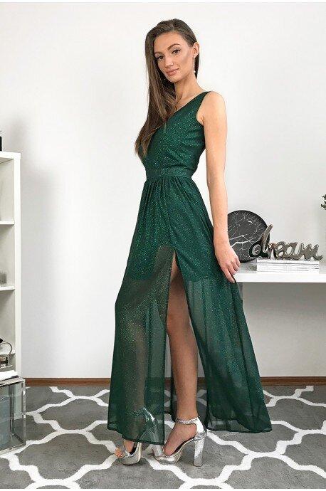 Długa wieczorowa suknia z brokatem Paris - zielona