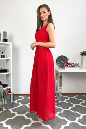 Długa wieczorowa suknia z brokatem Paris - czerwona