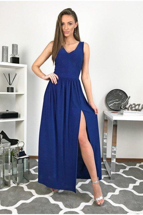 Długa wieczorowa suknia z brokatem Paris - chabrowa