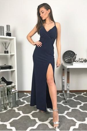 Długa wieczorowa suknia z brokatem Gala - granatowy