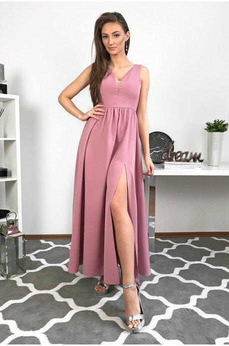 Długa wieczorowa suknia Lilia - brudny róż