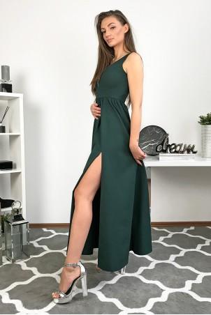 Długa wieczorowa suknia Lilia - butelkowa zieleń