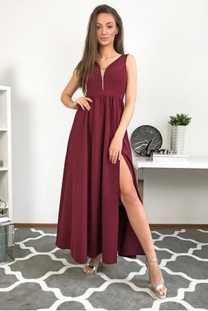 Długa wieczorowa suknia Lilia - bordowa
