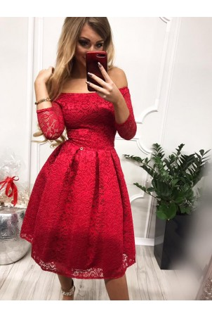 Sukienka wieczorowa Scarlett Midi - czerwona