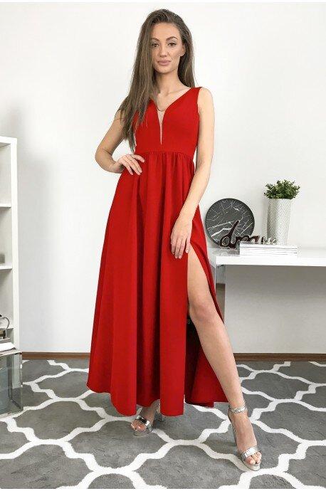 Długa wieczorowa suknia Lilia - czerwony