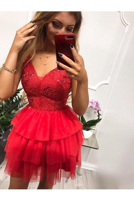 Sukienka tiulowa z ozdobnym gorsetem Lolita - czerwona