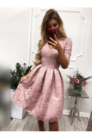 Koronkowa sukienka midi z wycięciem na plecach Adele - wrzosowa